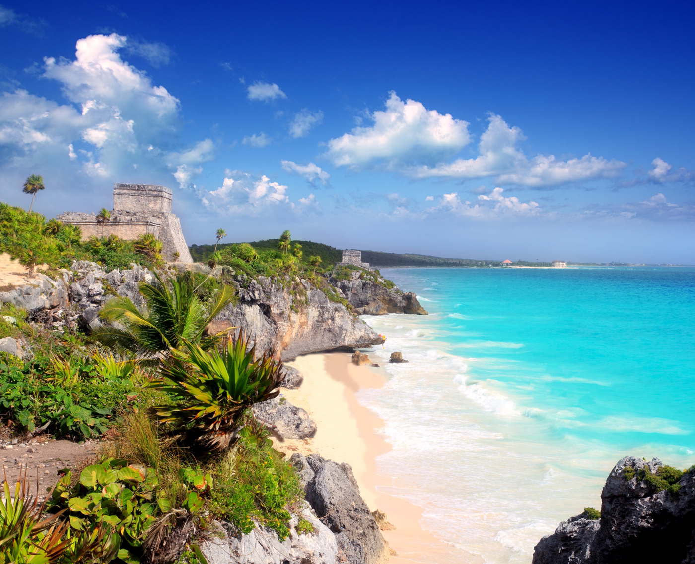 Ancient-Mayan-ruins-by-Tulum-Mexico-Beach